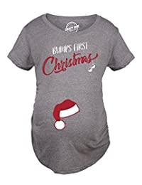 Bumps First Christmas Maternity Shirt Funny Holiday Party Tee For Pregnant Woman -XL