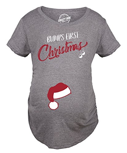 Crazy Dog T-Shirts Bumps First Christmas Maternity Shirt Funny Holiday Party Tee For Pregnant Woman -XL (Maternity Shirts Funny Christmas)