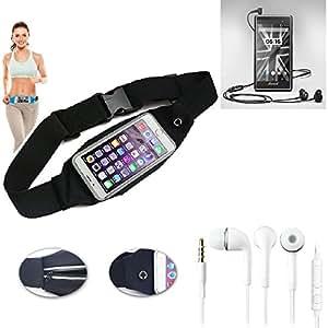 Cinturón de bandolera bolso de la cintura bolsa para Motorola Moto G LTE (2nd Gen.), negro + auriculares. Aptitud del deporte de la cubierta a prueba de lluvia Ejercicio corriente - K-S-Trade (TM)