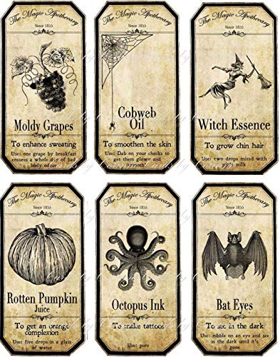Halloween Apothecary Bottle Label Stickers Set Of 6 Scrapbooking Glossy Paper