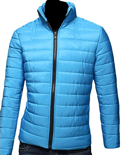 Warm Sleeve Outwear AngelSpace Lake Solid Blue Men's Slim Quilted Jacket Down Long IwSIXTFgWq