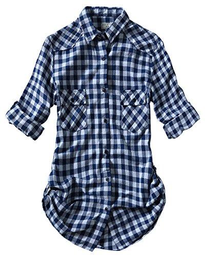 Match Women's Long Sleeve Cotton Plaid Shirt (Medium, 2022 Check#7) (Check Flannel)