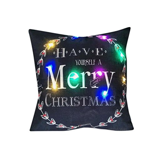 Clearance!Napoo Happy Christmas Lighting LED Cotton Linen Pillow Cases Cushion Covers Decorative 45cm45cm (A)