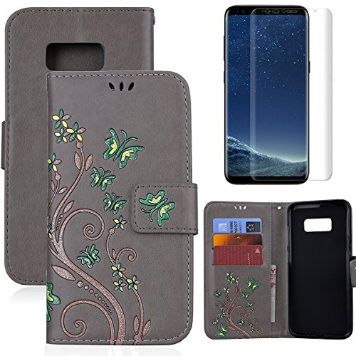 for Samsung Galaxy S8 Wallet Case and Screen Protector,OYIME [Butterfly Flower Embossed] Pattern Design Leather Holder Full Body Protection Bumper Kickstand Card Slot Function Magnetic Closure Flip Cover with Wrist Lanyard - Gray