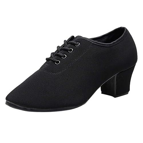 Zapatos de Vestir Tacón Bajos Cuña para Mujer Invierno Primavera PAOLIAN Calzado Cordones Elegantes Fiesta Lona Zapatillas de Danza Baile Latino Negro ...