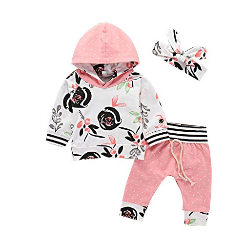 Seaby 2pcs Toddler Baby Girl Outfit Love Heart Floral Polka Dots Long Sleeve Hoodie Tops Pink Grey Pants Leggings Clothes Set (80(6-12 Months), Polka (Pink Heart Leggings)