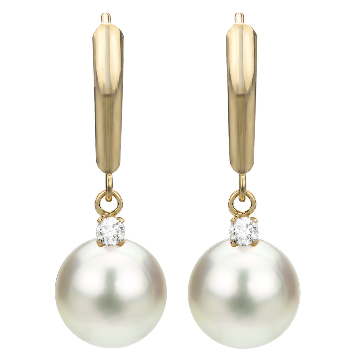 14k Yellow Gold 1/10cttw diamond 9-9.5mm White Round Freshwater Cultured Pearl Lever-back Earrings by La Regis Jewelry (Image #3)