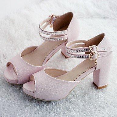 RUGAI-UE Moda de Verano Mujer sandalias casuales zapatos de tacones PU Confort,Blanca,US8 / UE39 / UK6 / CN39 Blushing Pink