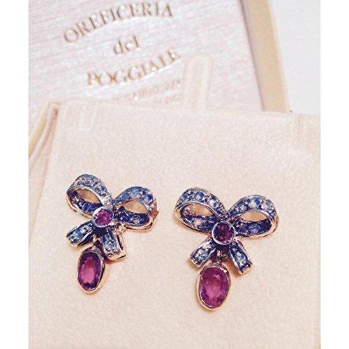 Boucles d'oreilles artisanal Femme orec113or rubis
