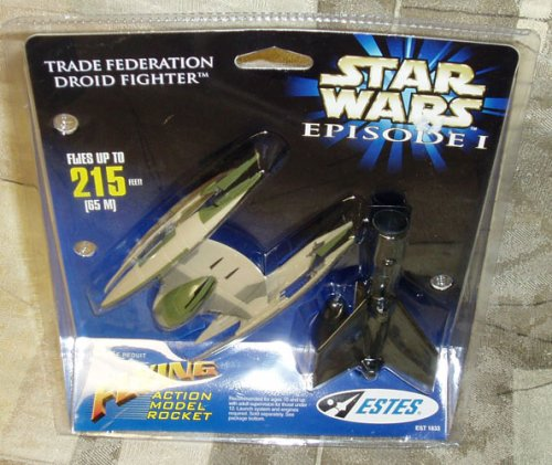 Star Wars Episode I Trade Federation Droid Fighter Flying Action Model Rocket by (Federation Droid Fighter)