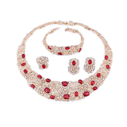 (OUHE Red Crystal Chain Necklace Ring Bracelet Jewelry Set Costume Show Wedding Gold Plated)