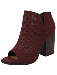 Soda Women's Open Toe Perforated Stacked Block Heel Ankle Bootie