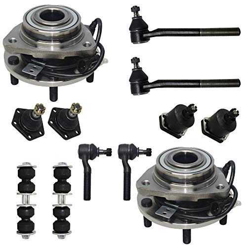 Ball Bearing Axle (Detroit Axle - 12PC Front Wheel Bearing & Hub Assembly w/Upper Lower Ball Joints, Sway Bars and Inner Outer Tie Rods for 1998-2005 Chevy S10 Blazer - [1998-2001 Jimmy] - 1998-2004 Sonoma - [4WD])
