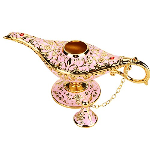 - Oil Lamp, Retro Metal Fairy Tale Aladdin Magic Genie Home Teapot Oil Lamp for Home Decoration(Pink)