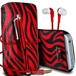Sony Xperia M Protección Premium de Zebra PU tracción Piel Tab Slip In Pouch Pocket Cordón piel cubierta de la caja de liberación rápida, Stylus Pen & 3.5MM auriculares auriculares auriculares Rojo y Negro por Spyrox