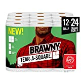 Brawny Tear-A-Square Paper Towels, 12 = 24 Regular Rolls, 3 Sheet Size Options, Quarter Size Sheets, 12 Count: more info
