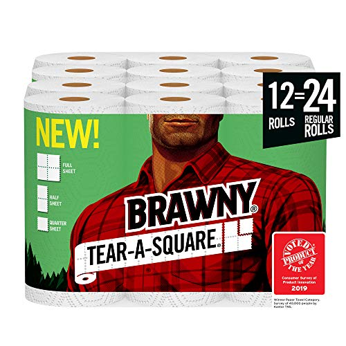 Brawny Tear-A-Square Paper Towels, 12 Rolls, 12 = 24 Regular Rolls, 3 Sheet Size Options, Quarter Size Sheets (Best Place To Find Bathroom Vanities)