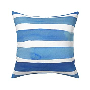 Blue Striped Watercolor Nautical Boy Apparel Home Sateen Duvet Cover by Roostery