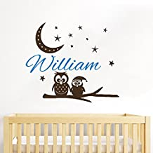 Owl Wall Decal Custom Name Baby Personalized Name Nursery Kids Boys Girls Moon and Stars Wall Vinyl Decals Stickers Bedroom Murals Home Decor
