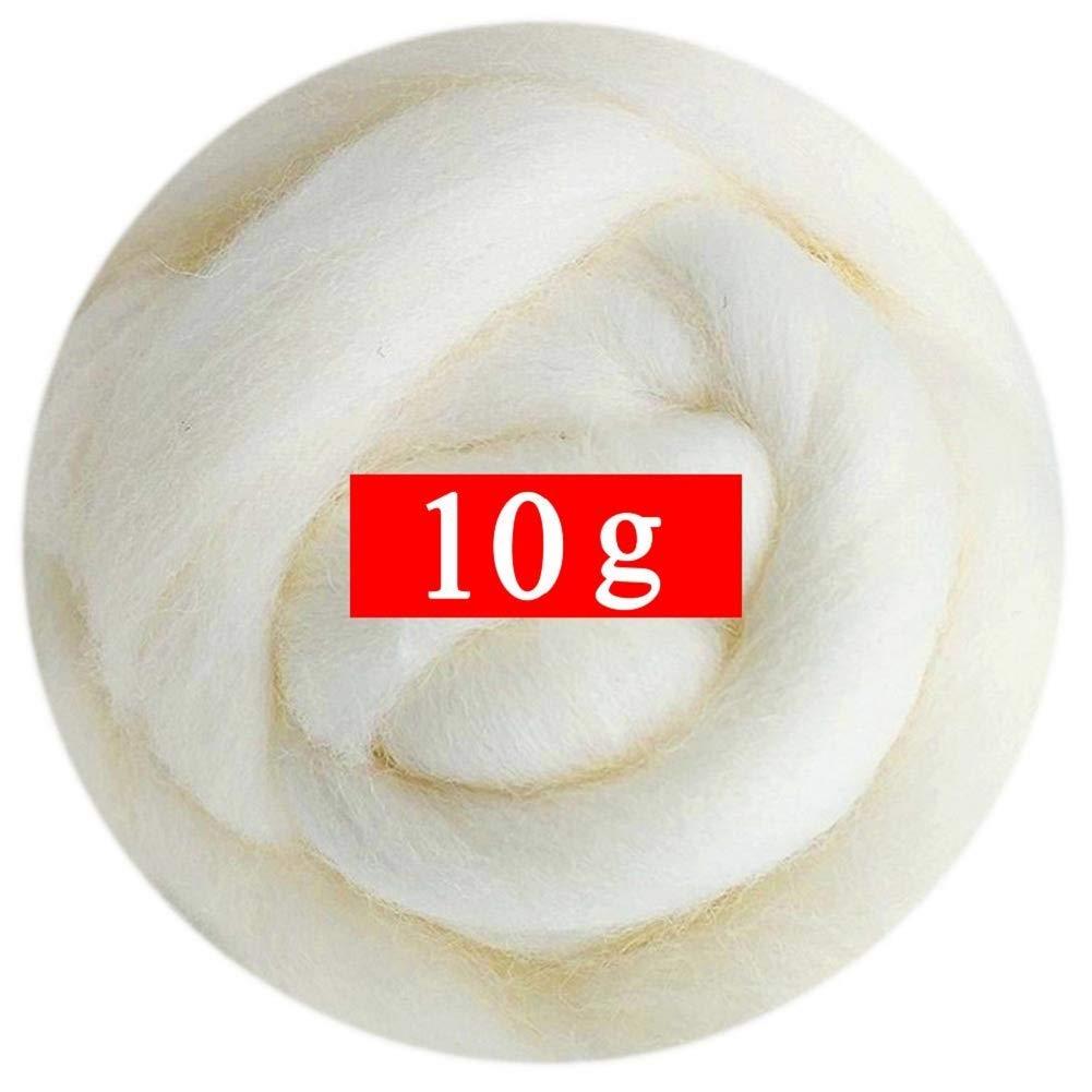 D DOLITY Fieltro de Lana 10g Lana para Enfieltrar de 10 Colores para Seleccionales Naranja