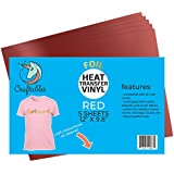 "Craftables Red Foil Heat Transfer Vinyl for Craft Cutters - (5) Reflective 9.8"" x 12"" Sheets"