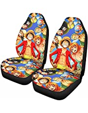 ONE Piece Anime Car Seat Covers,Two-Piece Suit,Automotive Mat Covers Front Back Auto Seat Cover,Vehicle Seat Protector Fit Most Car Sedan 2 PCS