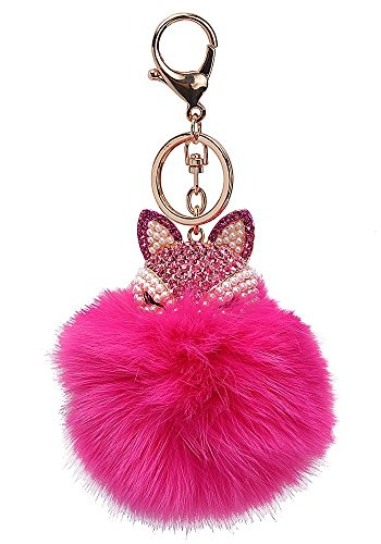 Cameo Electric Lamp (Century Star Cute Fox Fur Ball Poms Car Ring Bag Charm Key Chain Rose)
