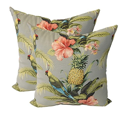 Set of 2 - Indoor / Outdoor Square Decorative Throw / Toss Pillows - Tommy Bahama Home Fabric - Grey / Gray Beach Bounty Tangelo - Tropical Bird, Pineapple, Floral