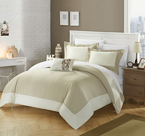 Chic Home 4 Piece Papillon MODERN TWO TONE REVERSIBLE HOTEL COLLECTION, with embellished borders and embroidery decor pillow King Duvet Cover Set Beige