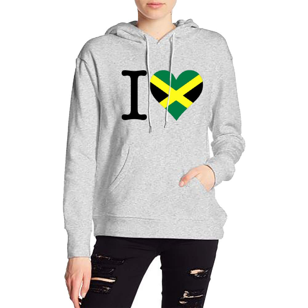 Womans I Love Jamaica Sweater Sports Drawstring Hooded