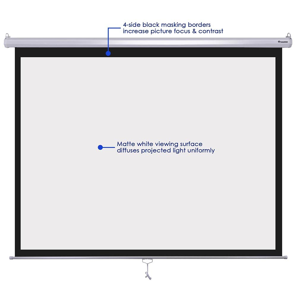 "Amazon.com: Instahibit 120"" Diagonal 4:3 Manual Pull Down Projector Screen  Classroom Meeting Room Home Bar Projection: Office Products"