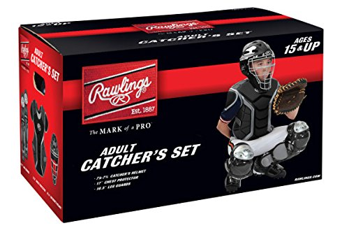 Coolflo Hockey Style Catchers Helmet (Rawlings Sporting Goods Renegade Series Catcher Set (Ages 15 Plus), Black/Silver)
