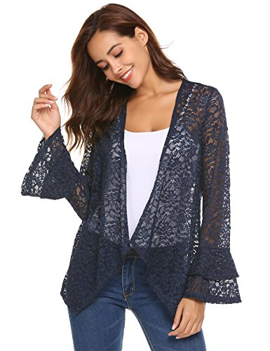 (Concep Women's Bell Sleeve Cardigan Lace Crochet Casual Tops Sheer Cover Up Plus Size (Navy Blue, XXL))