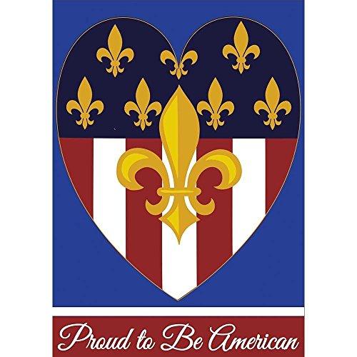 YuSuiG Garden Proud to Be American Fleur de Lis on Heart 13 x 18 Rectangular Applique Small Garden Flag