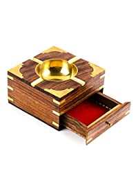 Rusticity Wood Ashtray and Cigarette Case with Brass Corners | Handmade | (5x5 in)