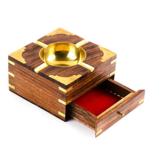 Rusticity Wood Cigarette Case and Ashtray with Brass Corners | Handmade | (4.5x4.5 in) ()