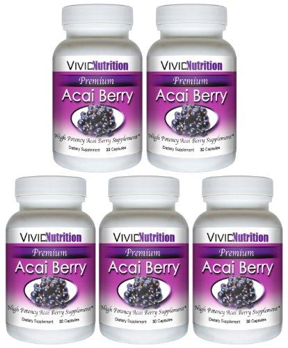 PREMIUM ACAI (5 bouteilles) - Haute Puissance, Pure Acai Berry supplément. Le régime entièrement naturel, perte de poids, Colon Cleanse, Detox, produit Superfood antioxydant.