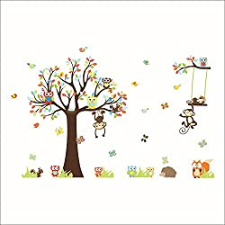 Rainbow Fox Kids Wall Decal, Jungle Zoo Theme Colorful Owl Monkey Tree Decorative Nursery Wall Sticker for Children Bedroom Nursery Playroom Wall Mural (Brown)