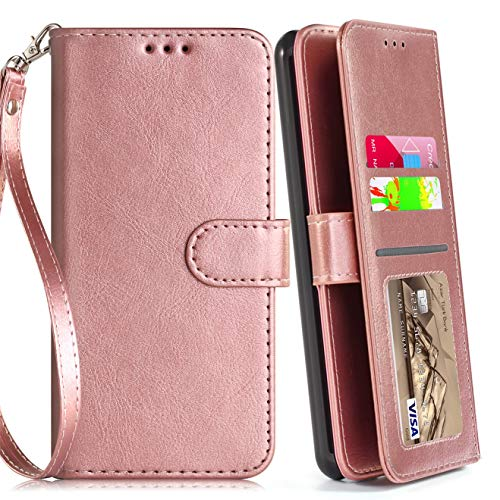 (LG Aristo 2 Case, Aristo 3/Rebel 4 LTE/Aristo 2 Plus/Phoenix 4/Zone 4/Tribute Dynasty/Fortune 2/Risio 3/K8+2018 Plus Phone Case Wallet with Screen Protector for Women Girls Boys (Rose Gold (Pure)) )