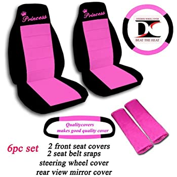 Black And Hot Pink Princess Seat Covers Steering Wheel Cover