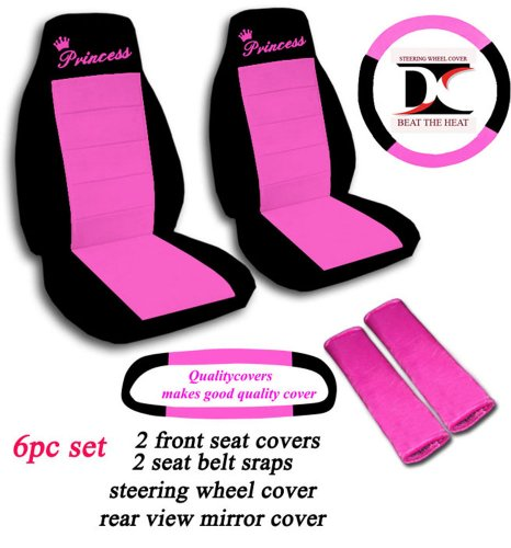 6 Piece set. Black and Hot Pink Princess seat covers, steering wheel cover, seat belt cover and rear view mirror cover. Universal seat covers. (Princess Seat Covers)