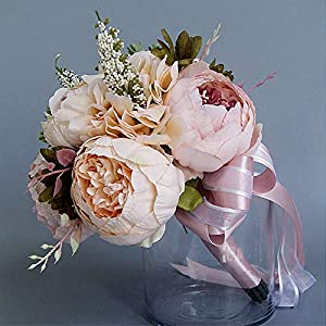 Takefuns Artificial Peony Rose Flower Bouquet for Bride Bridesmaid Handmade Wedding Bouquet Silk Bridal Bouquet Holding Flower 89
