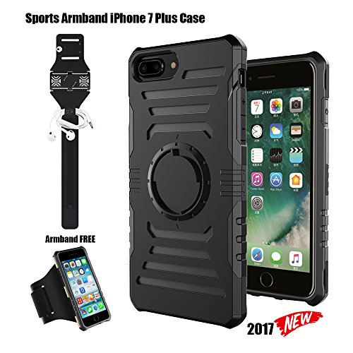 iPhone 8 Plus Case iPhone 7 Plus Case Sports Armband, Hybrid Armor Heavy Duty Shockproof Case with Dual Layer Hard PC+ Soft TPU and Built-in Metal as Magnetic Car Mount Holder(iPhone 8/7 Plus Black) Armband Clip