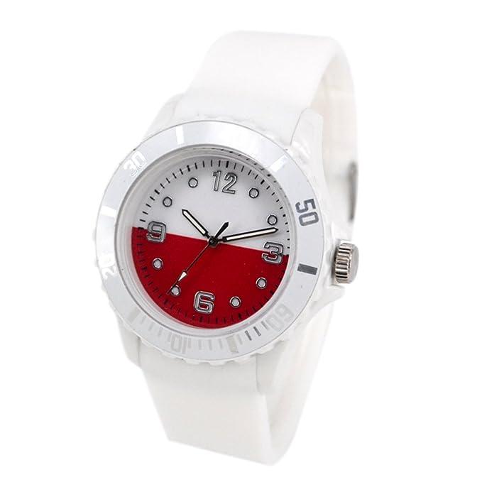 Reloj con la bandera de Polonia con pulsera de Silicona
