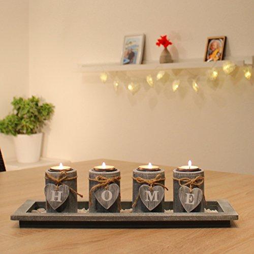 Teelichthalter set holz tablett landhaus tischdekoration for Weihnachtslichterketten innen