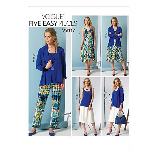 Vogue Patterns V9117 Misses' Cardigan/Top/Dress/Skirt & Pants, Size A5 (6-8-10-12-14)
