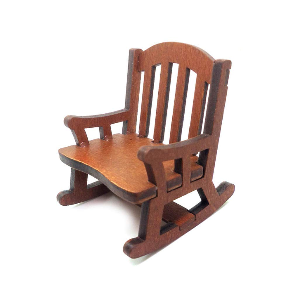 fgghfgrtgtg 1:12 Wooden Rocking Armchair Dollhouse Chair Miniature Furniture Model Doll House Toy Gift