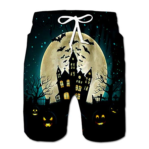 Halloween Party Silhouette of Castle at Glowing Moon and Dead Trees Near Ceme Men Swimwear Volley Pants Pocket XL]()
