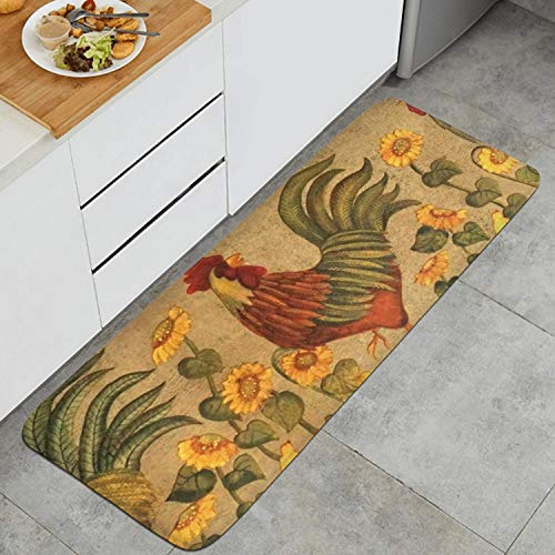 Kitchen Mat Waterproof Kitchen Rugs Cushioned Chef Soft Non-Slip Rubber Back Floor Mats Washable Oil Proof Doormat Bathroom Runner Area Rug Carpet (17.7