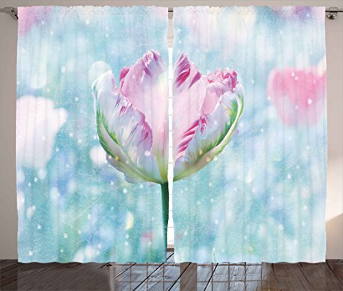 Ambesonne Floral Decor Curtains, Flower Decorations Theme Parrot Tulip with Snowflakes Digital Print, Living Room Bedroom Window Drapes 2 Panel Set, 108W X 96L Inches, Pink Purple and White (Double Parrot Tulip)